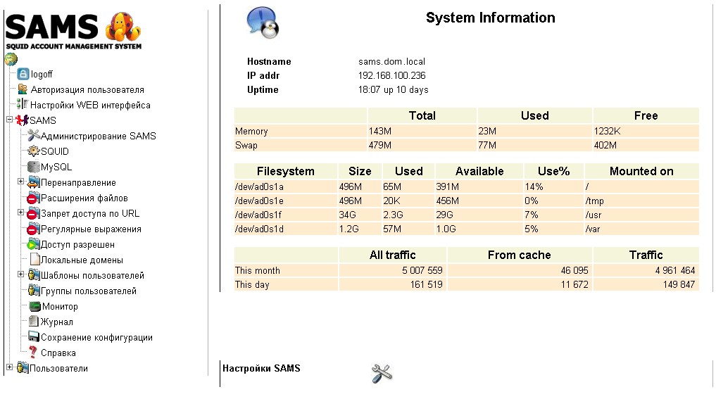 Web interface SAMS 1