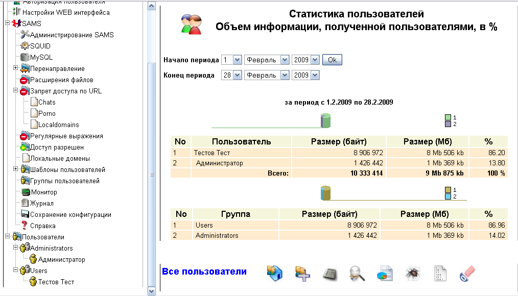 Web interface SAMS 2