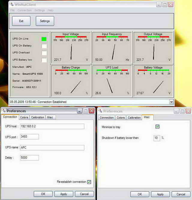 Network UPS Tools Windows Client